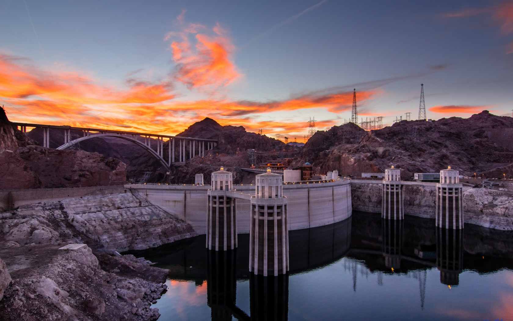 Hoover Dam at sunset wallpaper 1680x1050