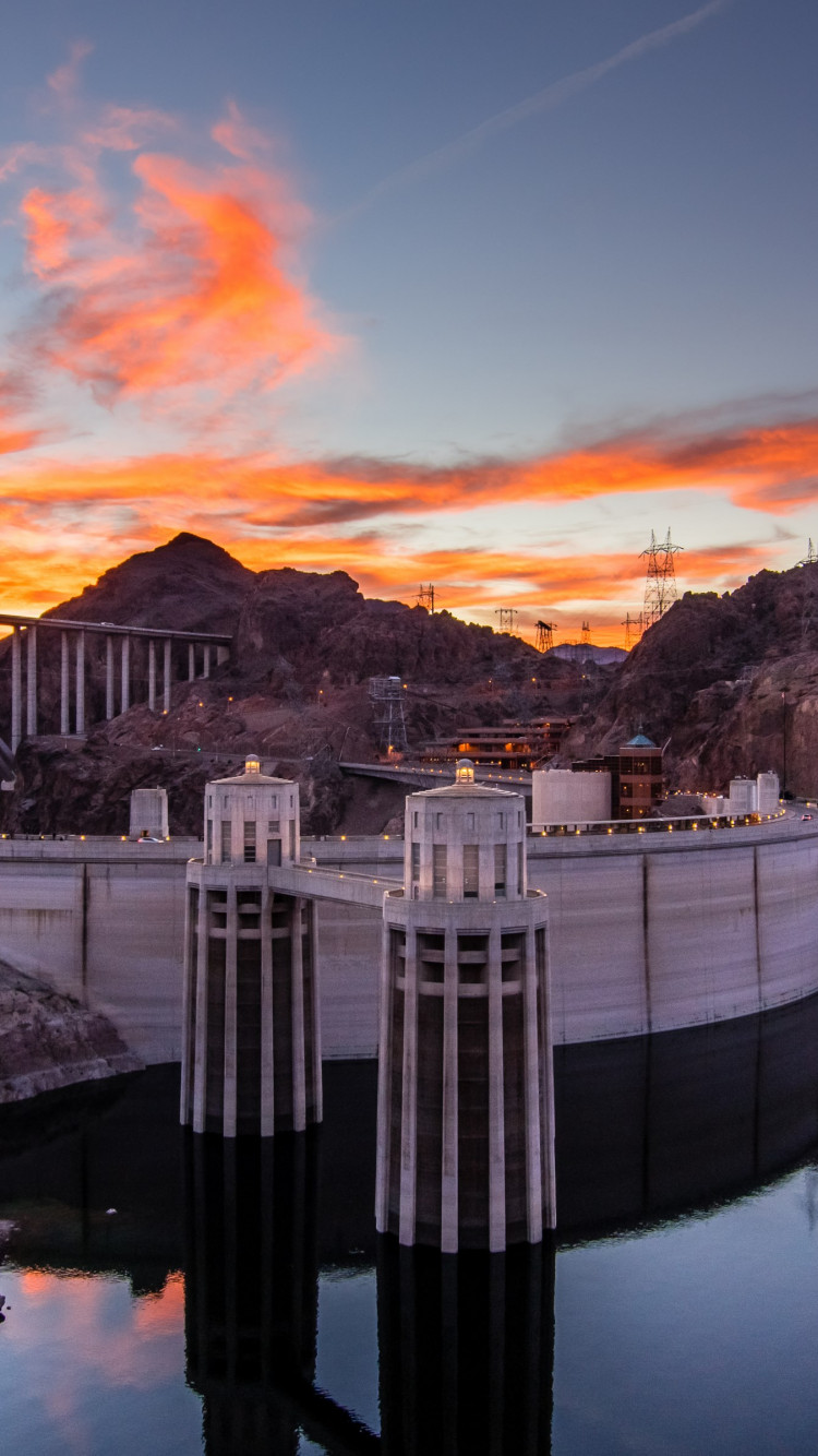 Hoover Dam at sunset wallpaper 750x1334