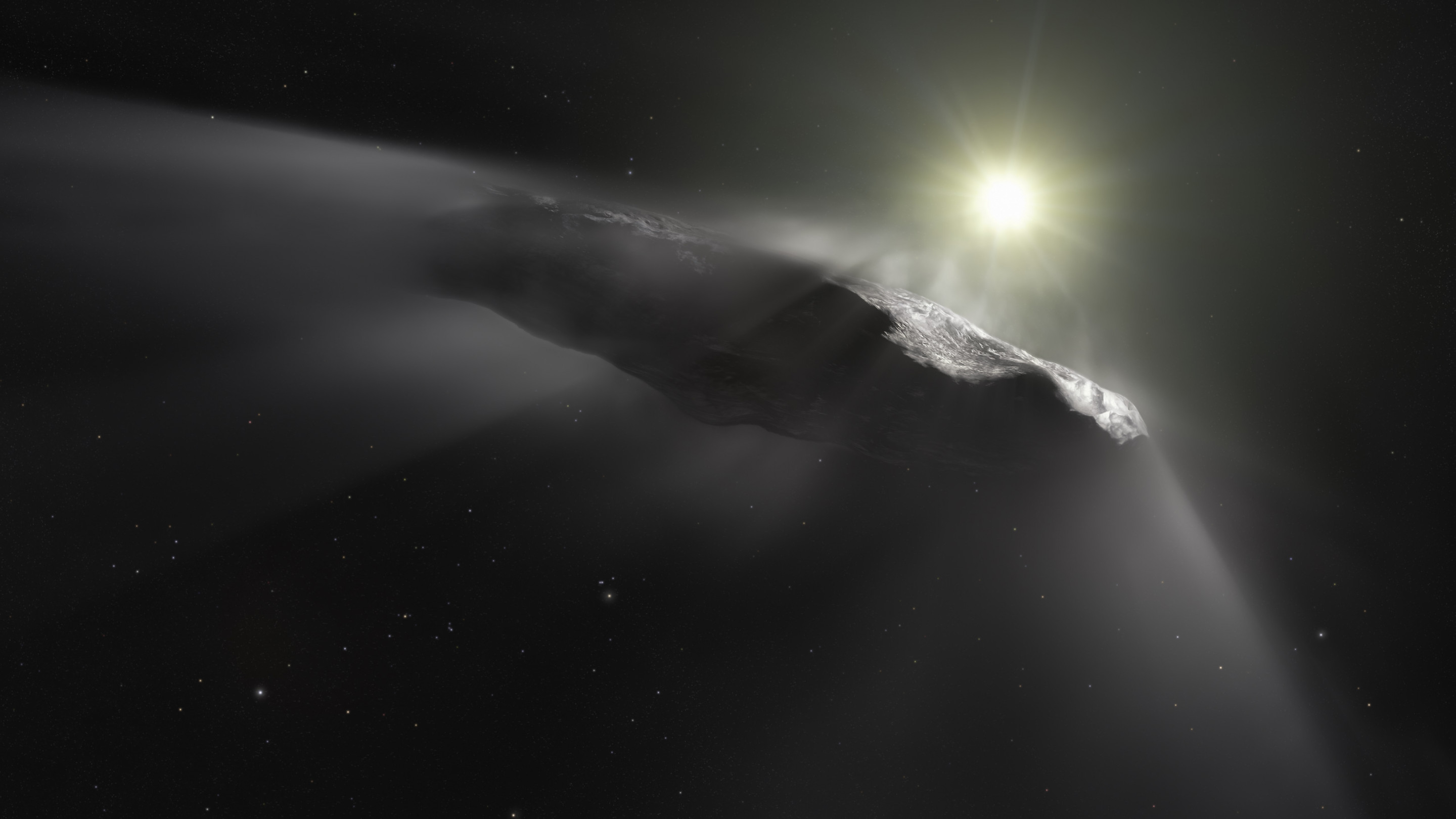 Oumuamua asteroid wallpaper 2880x1620