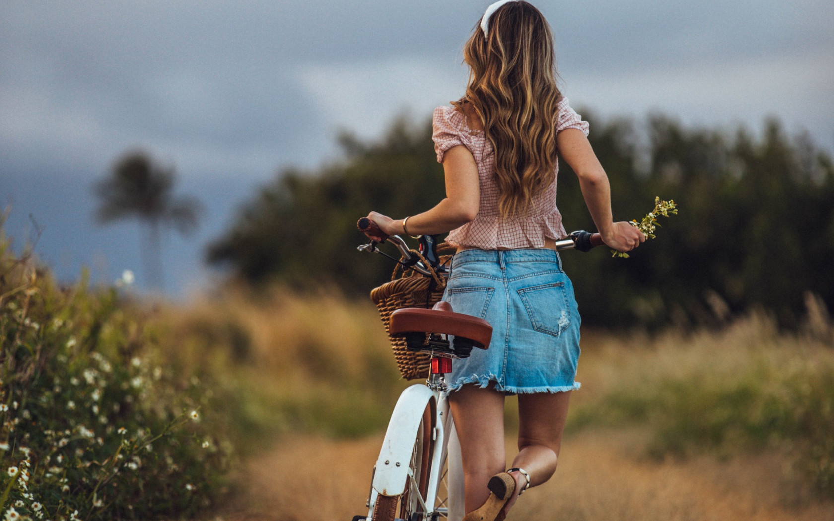 Lady with her retro bike wallpaper 1680x1050