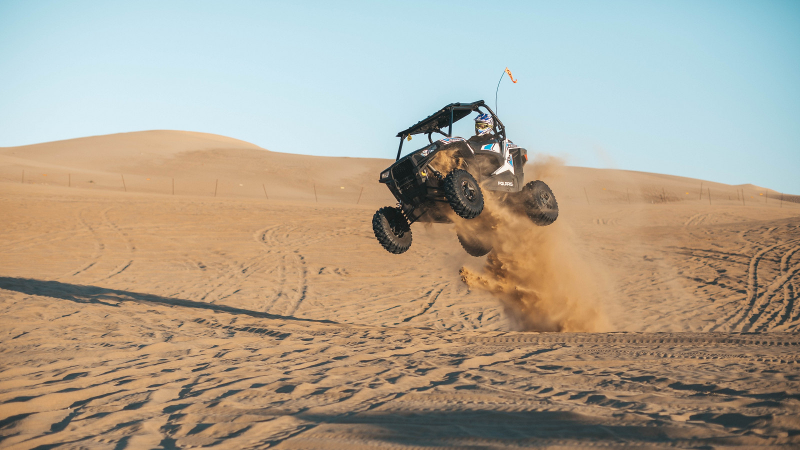 With ATV on the the sand dunes wallpaper 1600x900