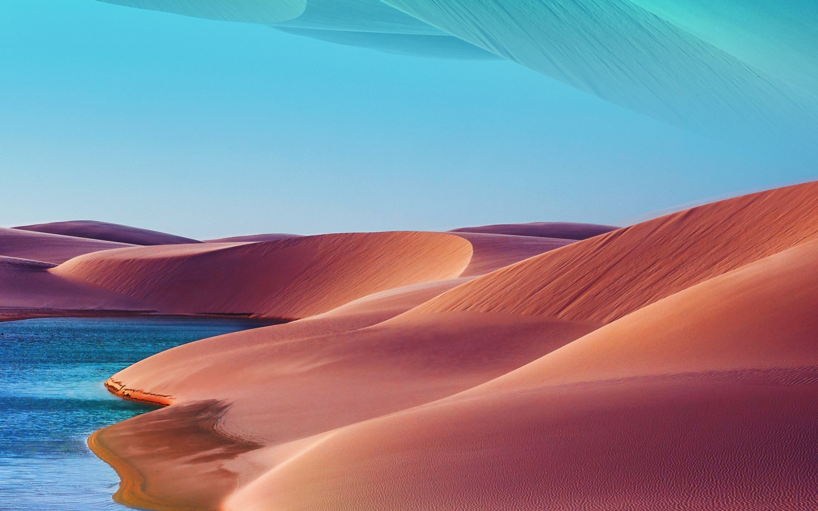 Desert dunes, lake, blue sky, hot day wallpaper 1680x1050