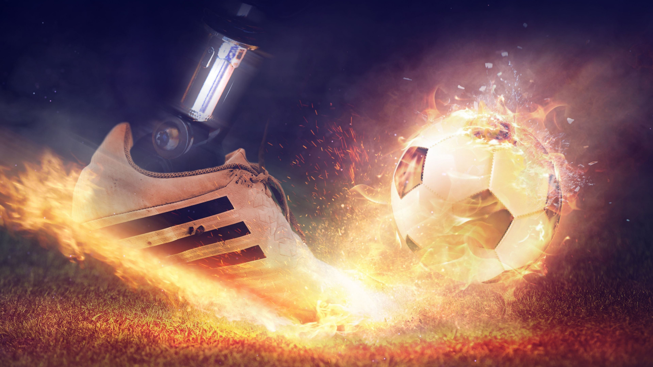 Football is on fire wallpaper 2560x1440