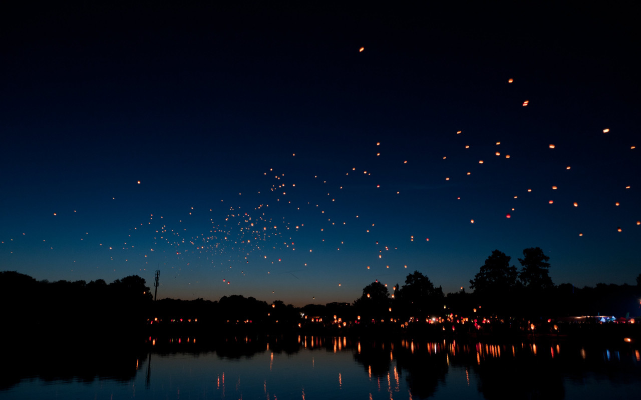 Hot air lanterns wallpaper 1280x800