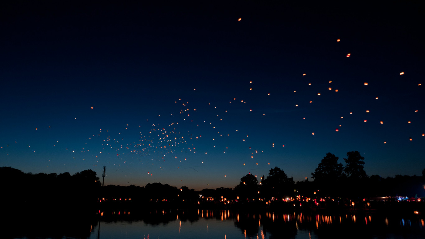 Hot air lanterns wallpaper 1366x768