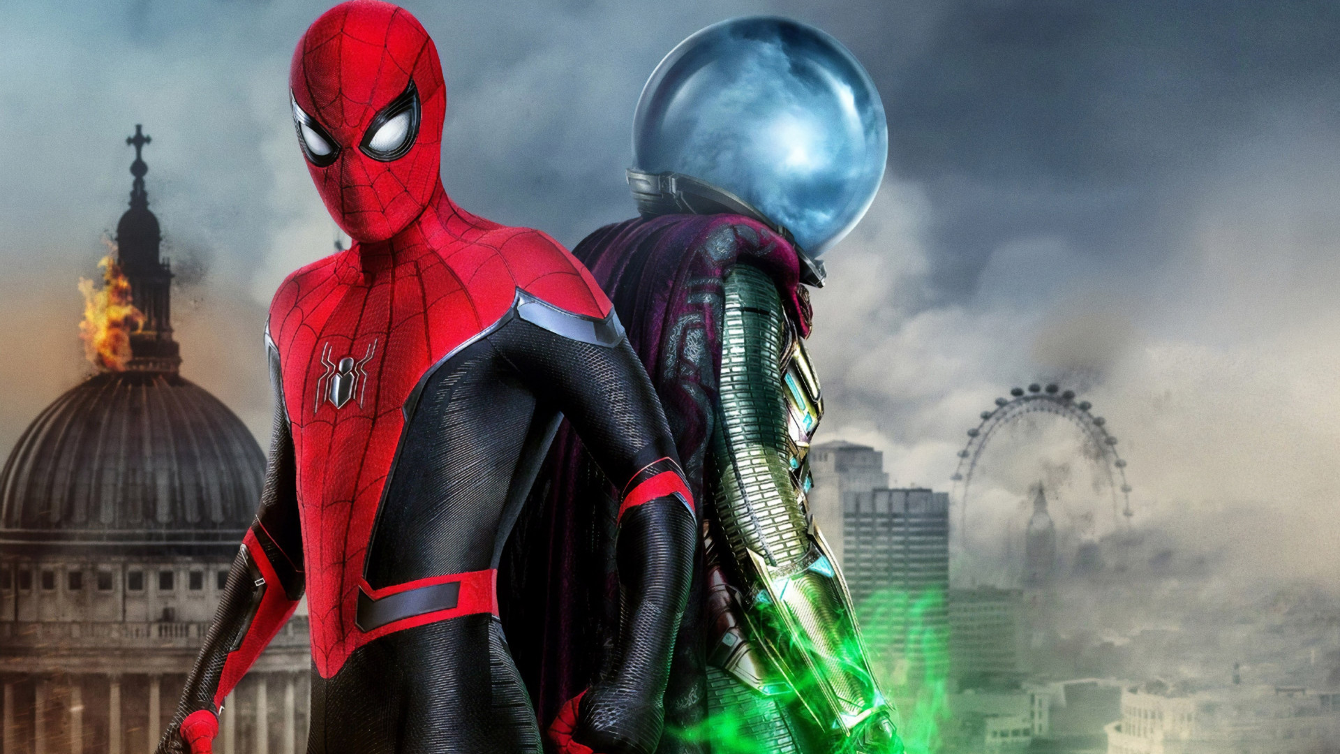 Download Wallpaper Spider Man And Mysterio 1920x1080