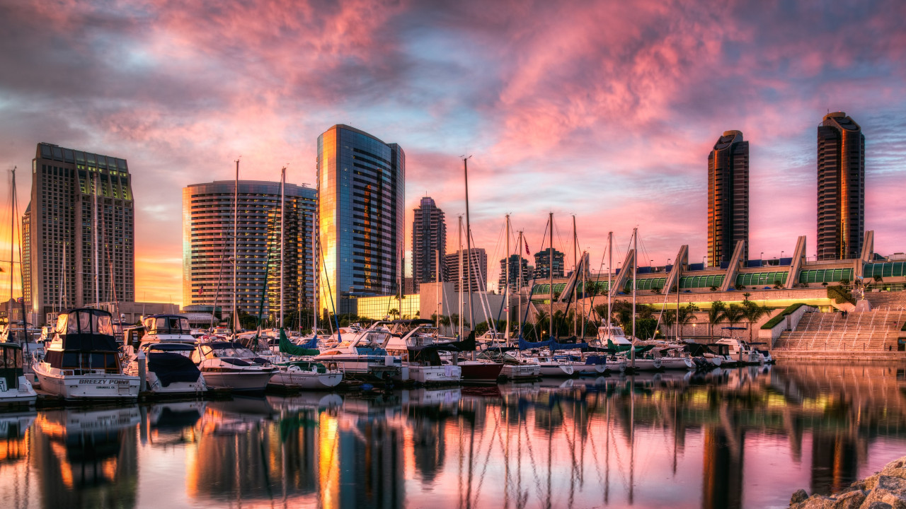Sunset in San Diego harbor wallpaper 1280x720