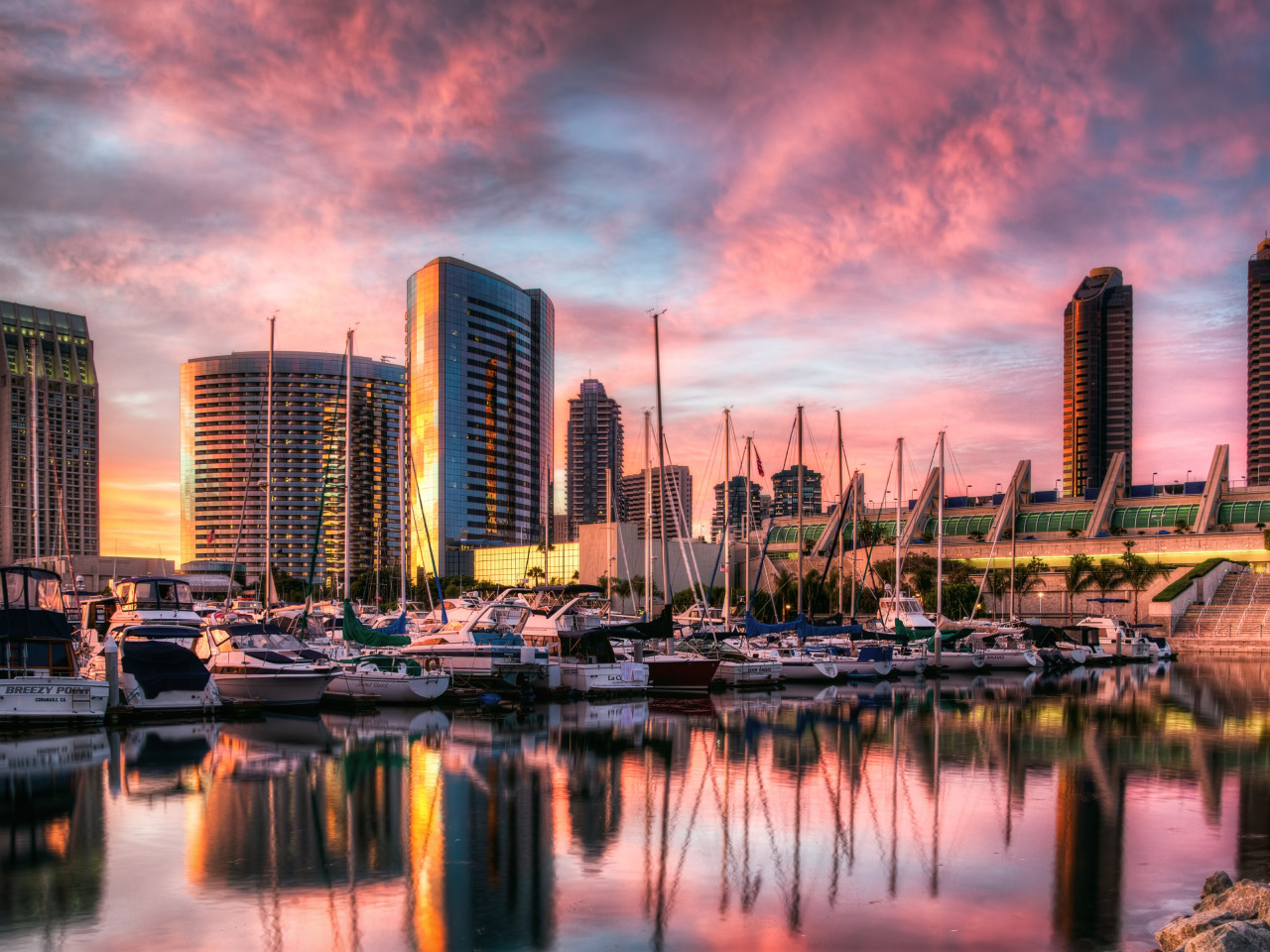 Sunset in San Diego harbor wallpaper 1280x960