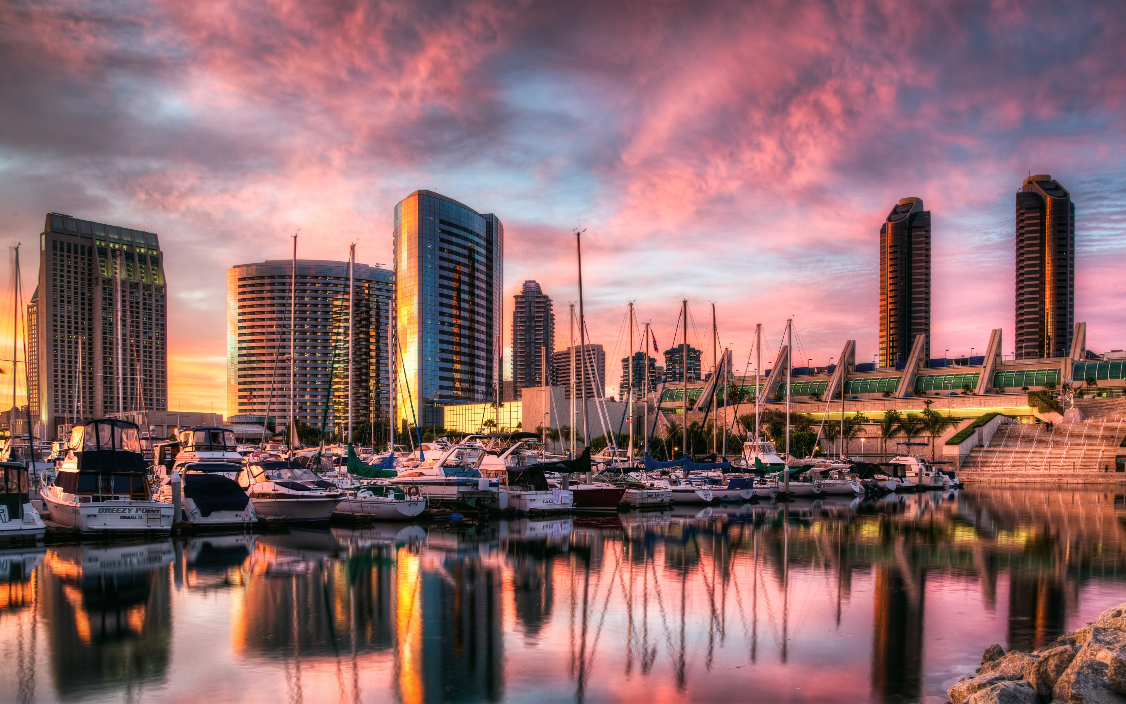 Sunset in San Diego harbor wallpaper 3840x2400
