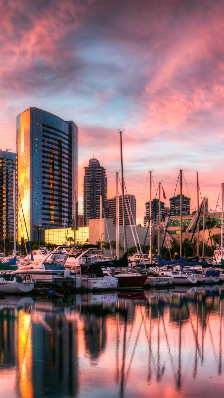 Sunset in San Diego harbor wallpaper 750x1334