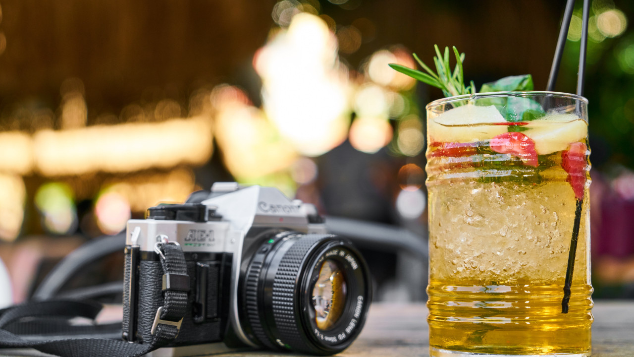 Retro photo camera and one cold drink wallpaper 1280x720