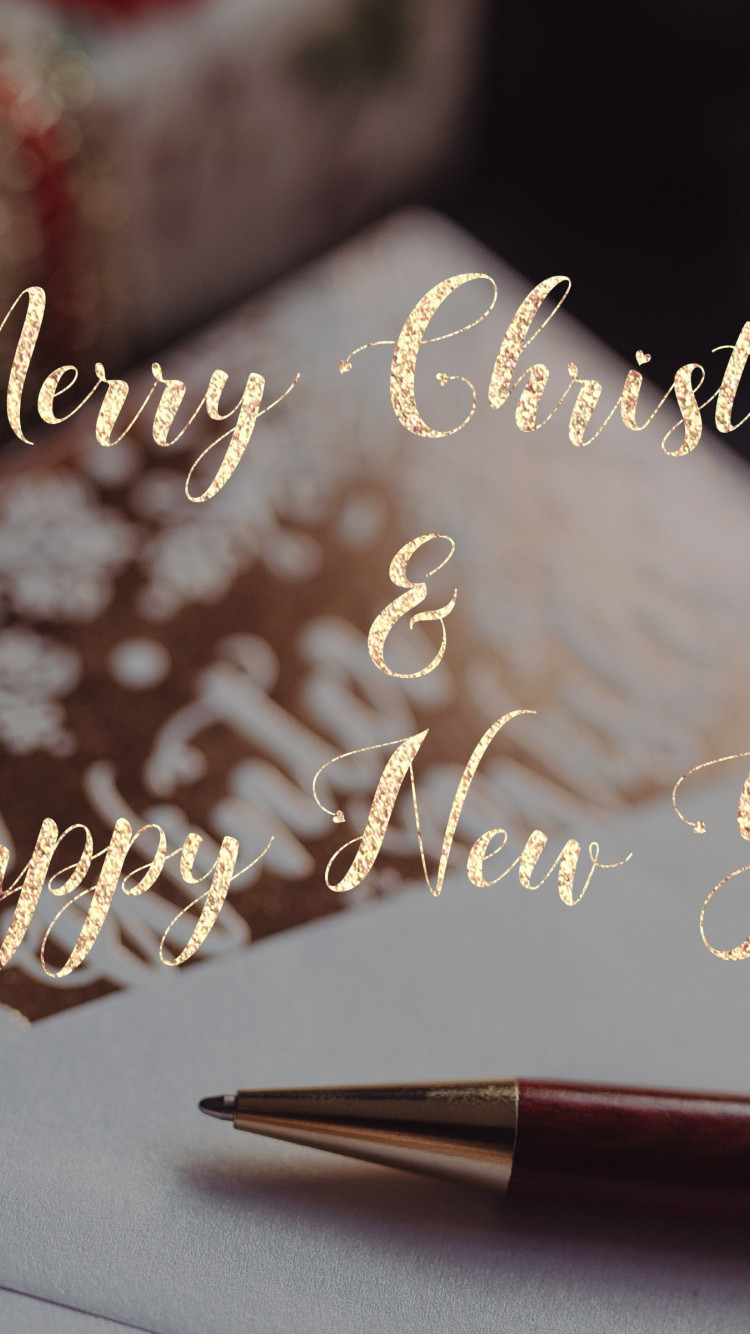 Merry Christmas and Happy New Year 2020 wallpaper 750x1334