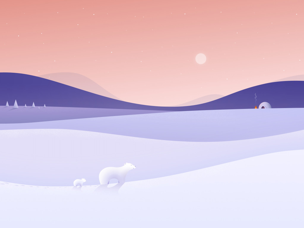 Polar bears illustration wallpaper 1024x768
