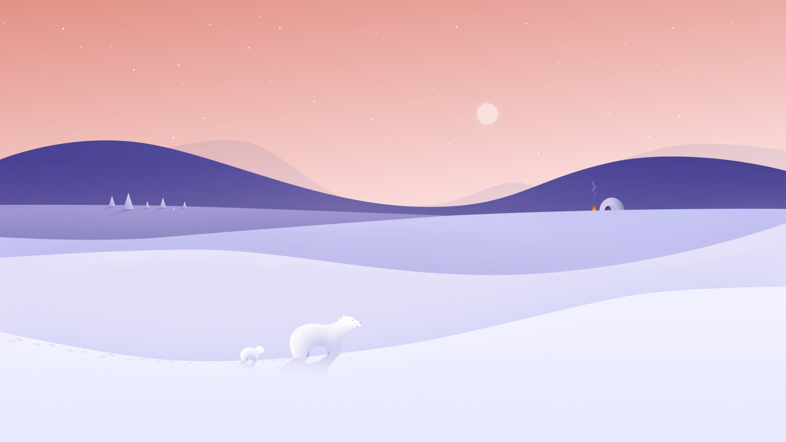 Polar bears illustration wallpaper 1600x900