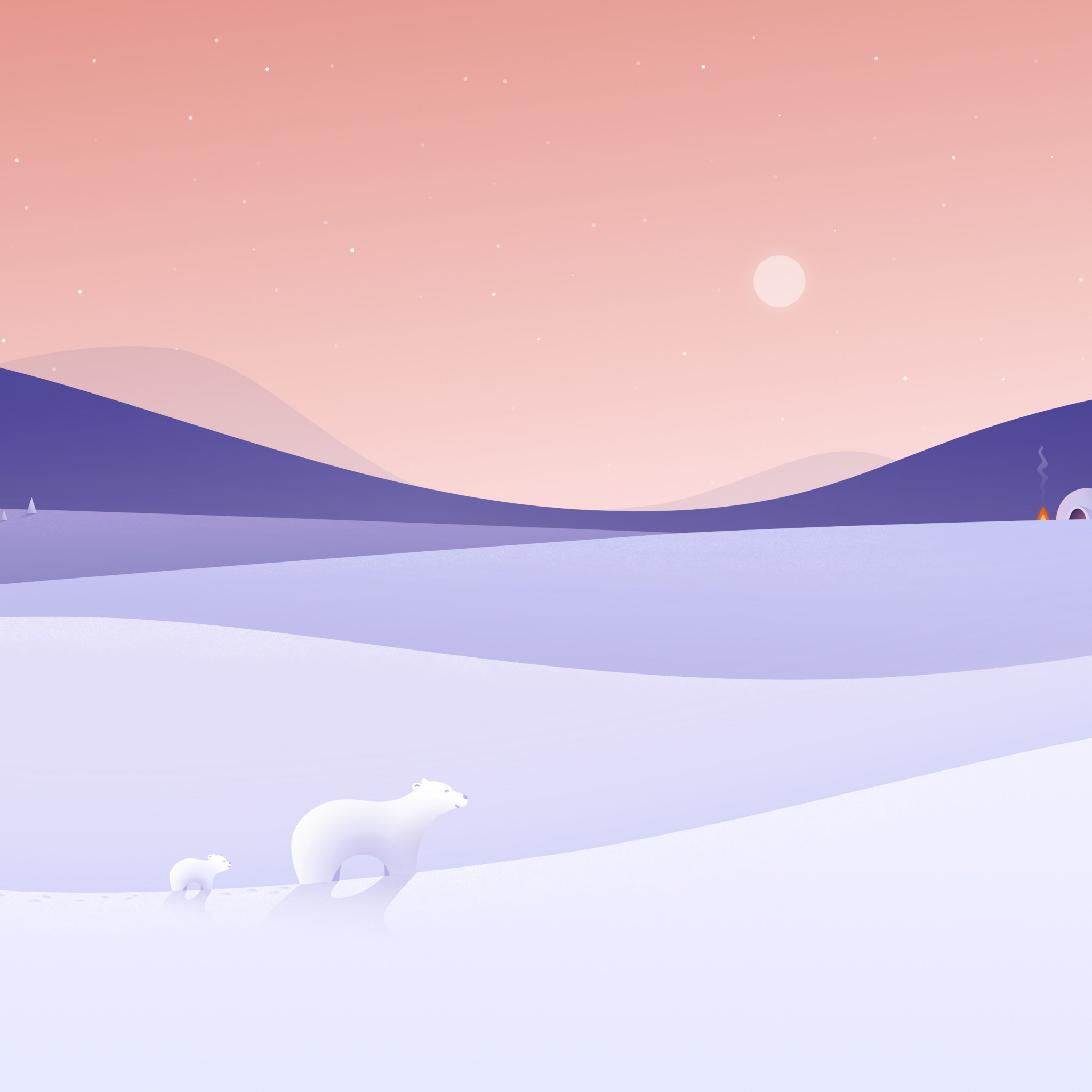 Polar bears illustration wallpaper 2048x2048