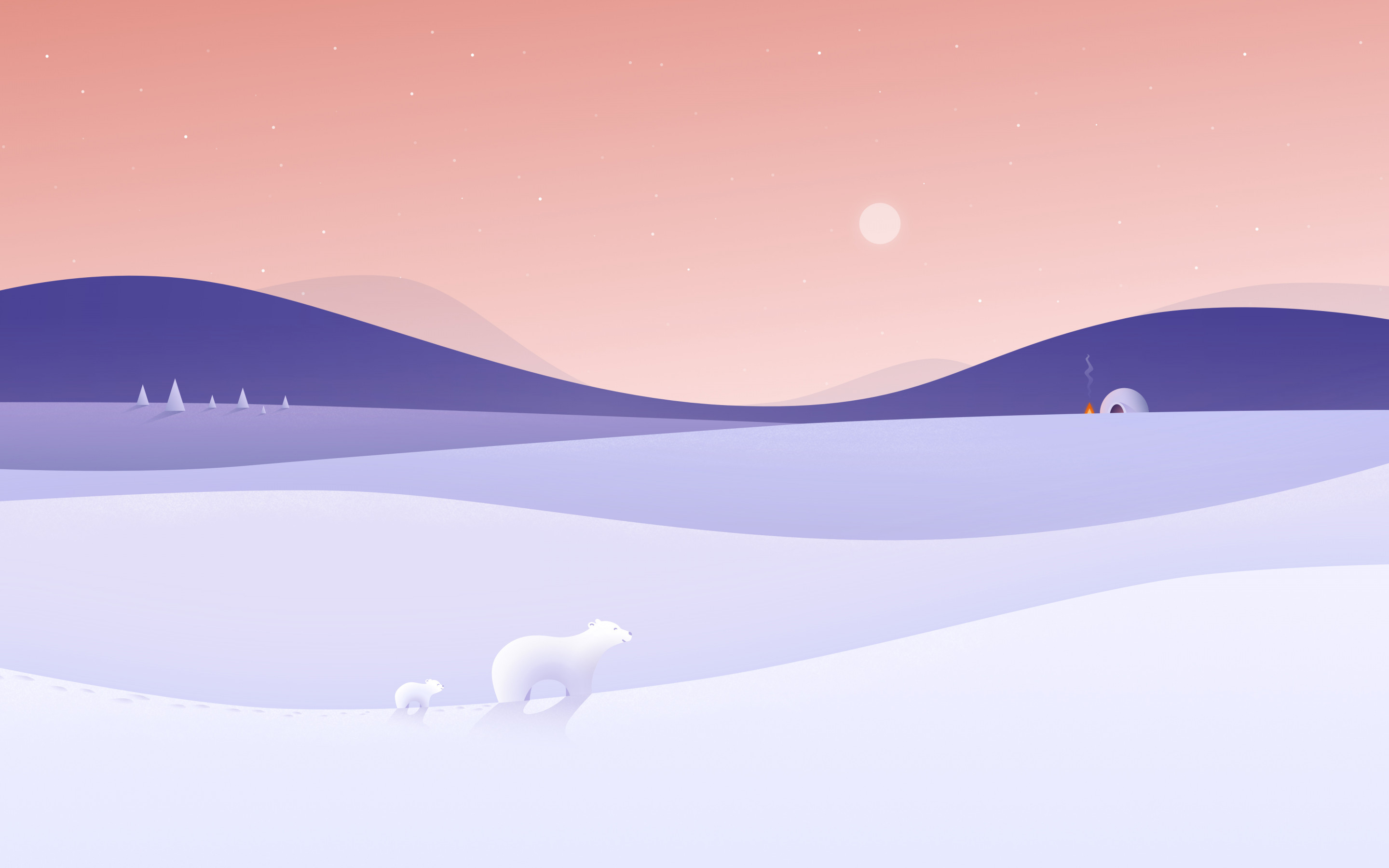 Polar bears illustration wallpaper 2880x1800