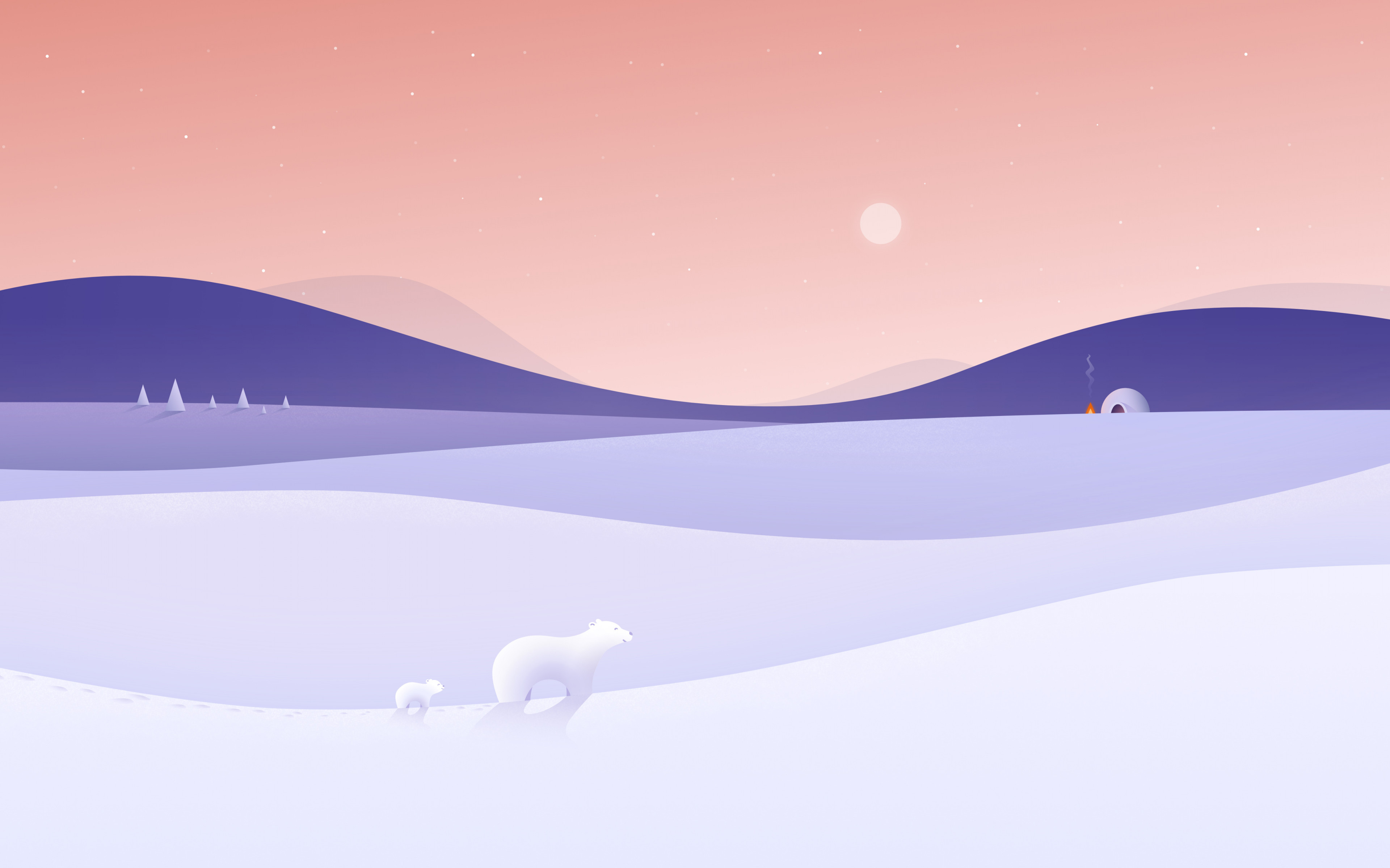 Polar bears illustration wallpaper 3840x2400