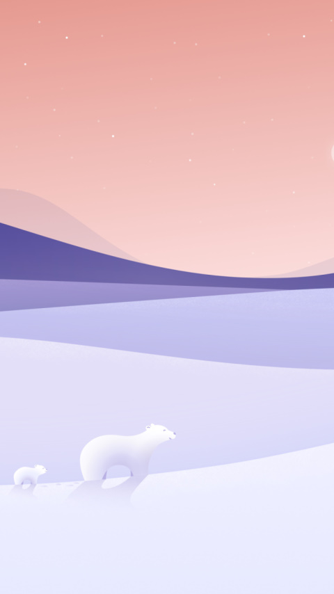 Polar bears illustration wallpaper 480x854