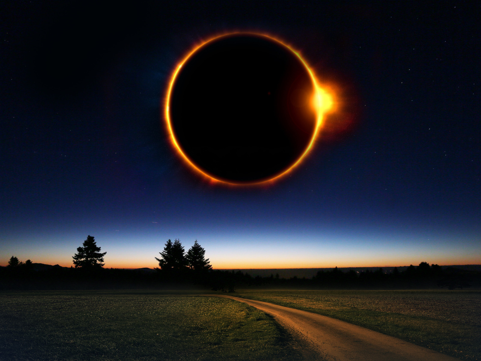 Fantasy solar eclipse wallpaper 1600x1200