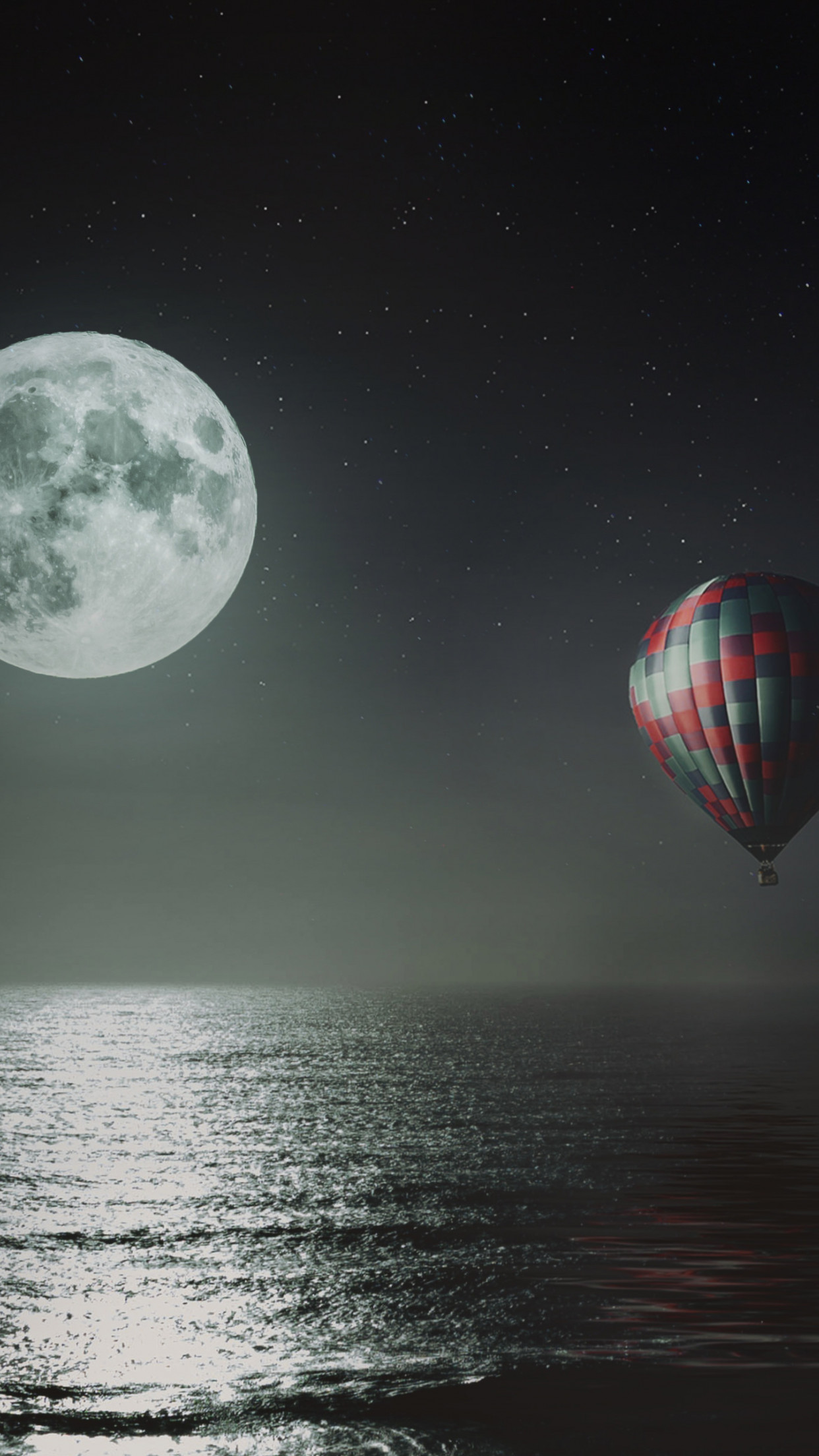 Hot air balloon over the night sky wallpaper 1242x2208