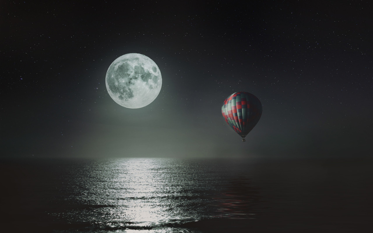 Hot air balloon over the night sky wallpaper 1280x800