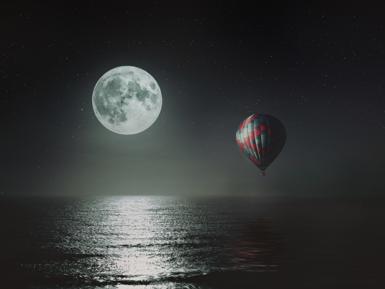 Hot air balloon over the night sky wallpaper 1600x1200