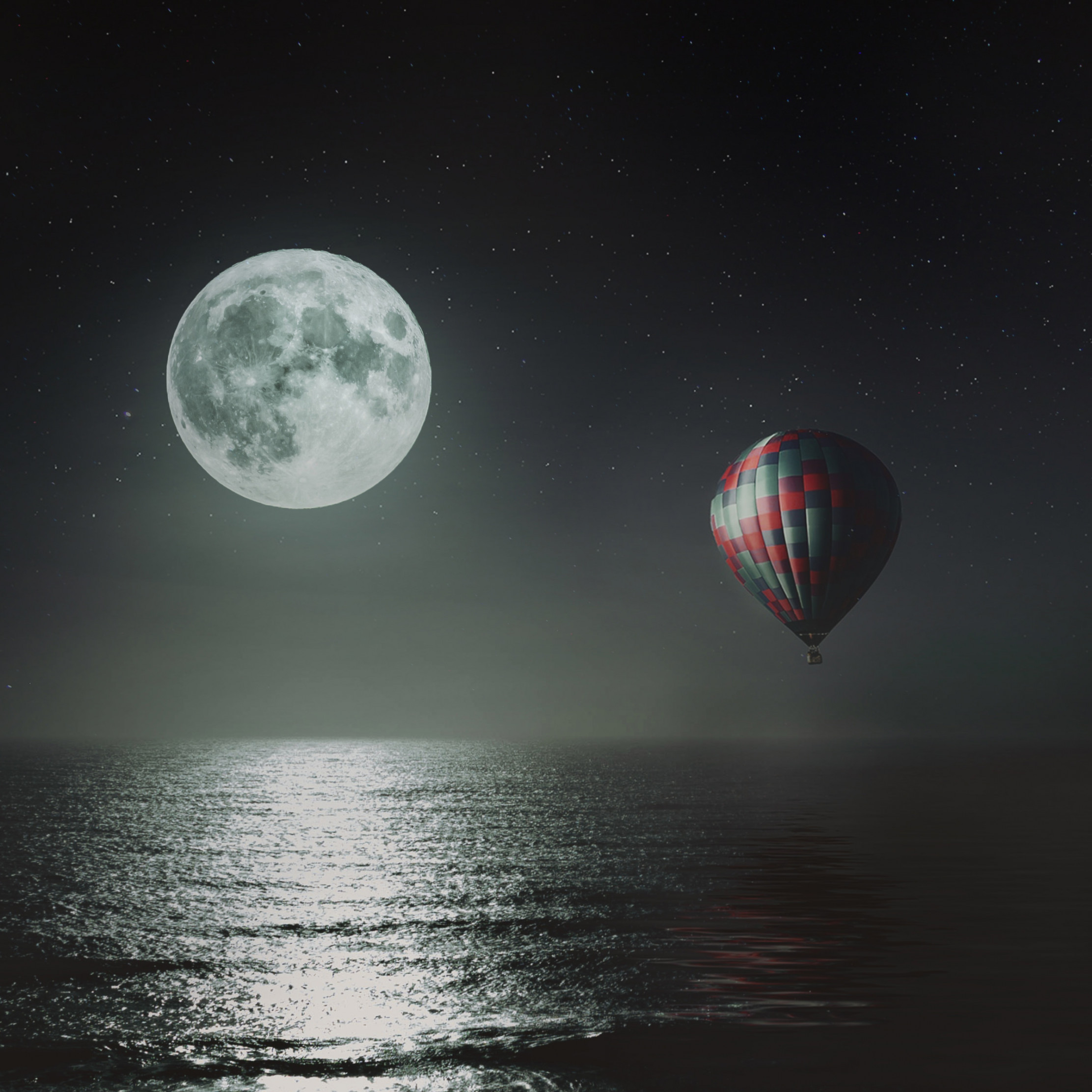 Hot air balloon over the night sky wallpaper 2224x2224