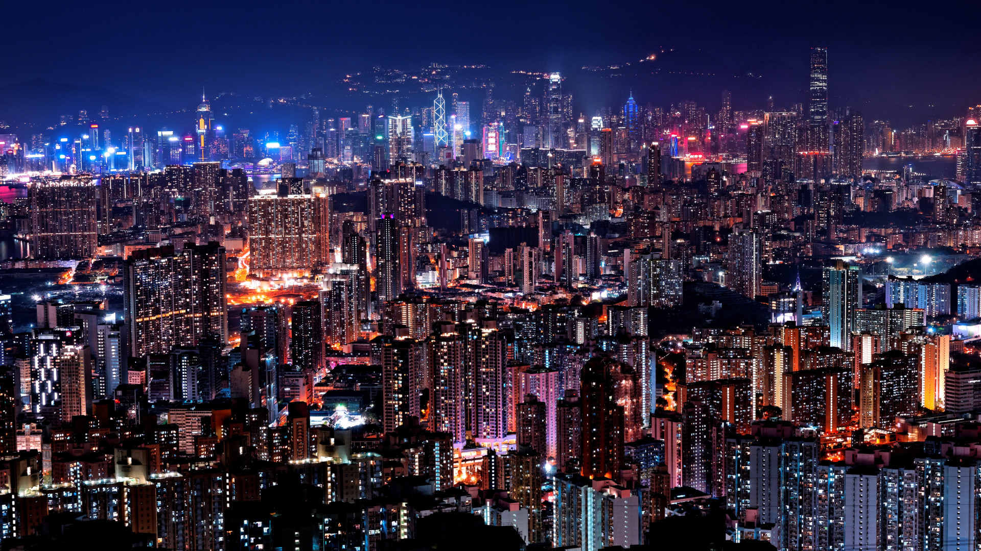 Hong Kong night lights wallpaper 1920x1080