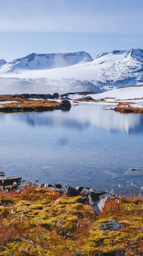 Mountains, snow, water, nature, Norway wallpaper 480x854