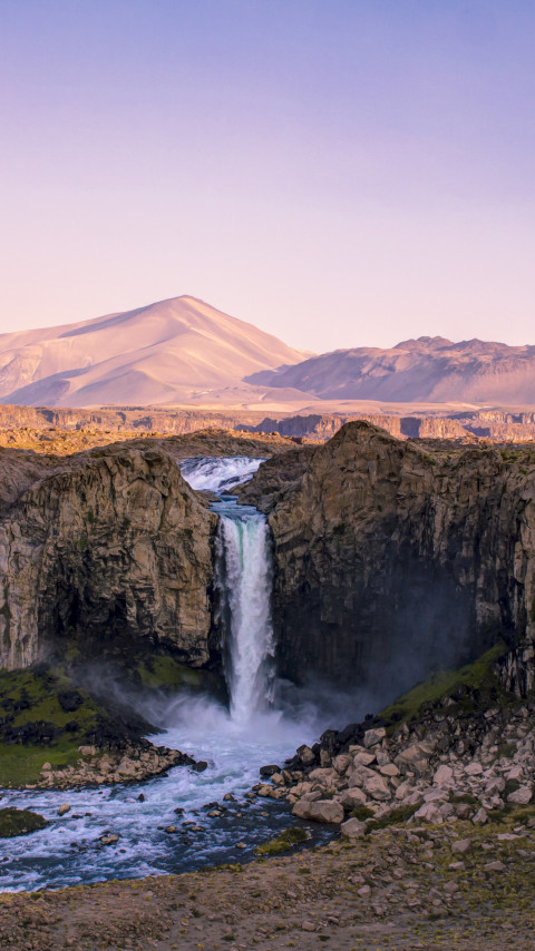Super landscape and a big waterfall wallpaper 480x854