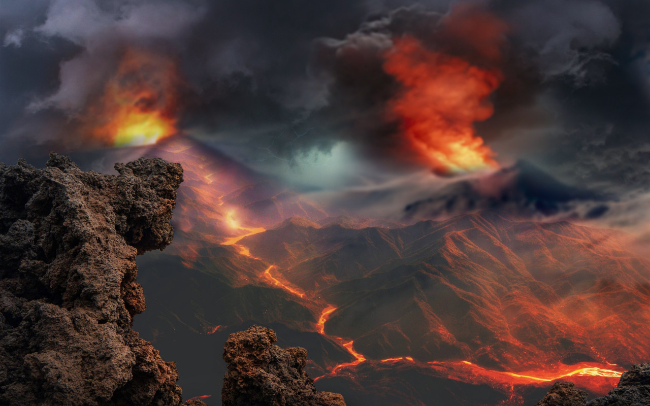 Volcanoes eruption and lava flow wallpaper 1280x800