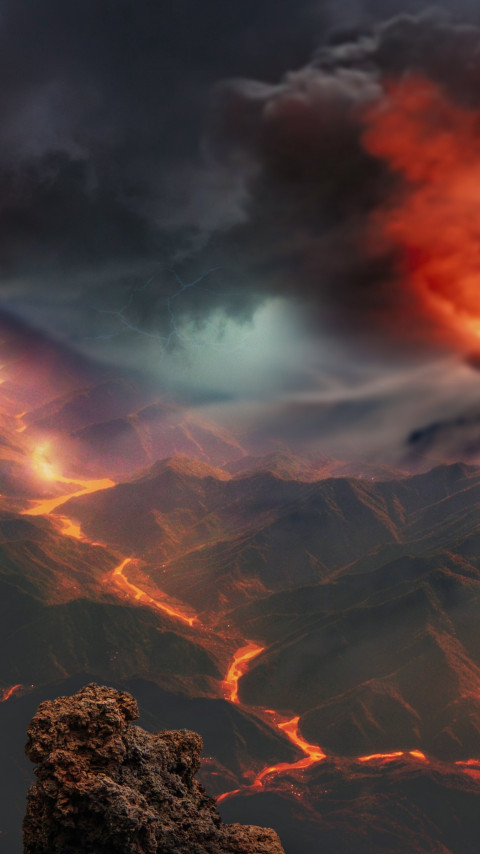 Volcanoes eruption and lava flow wallpaper 480x854