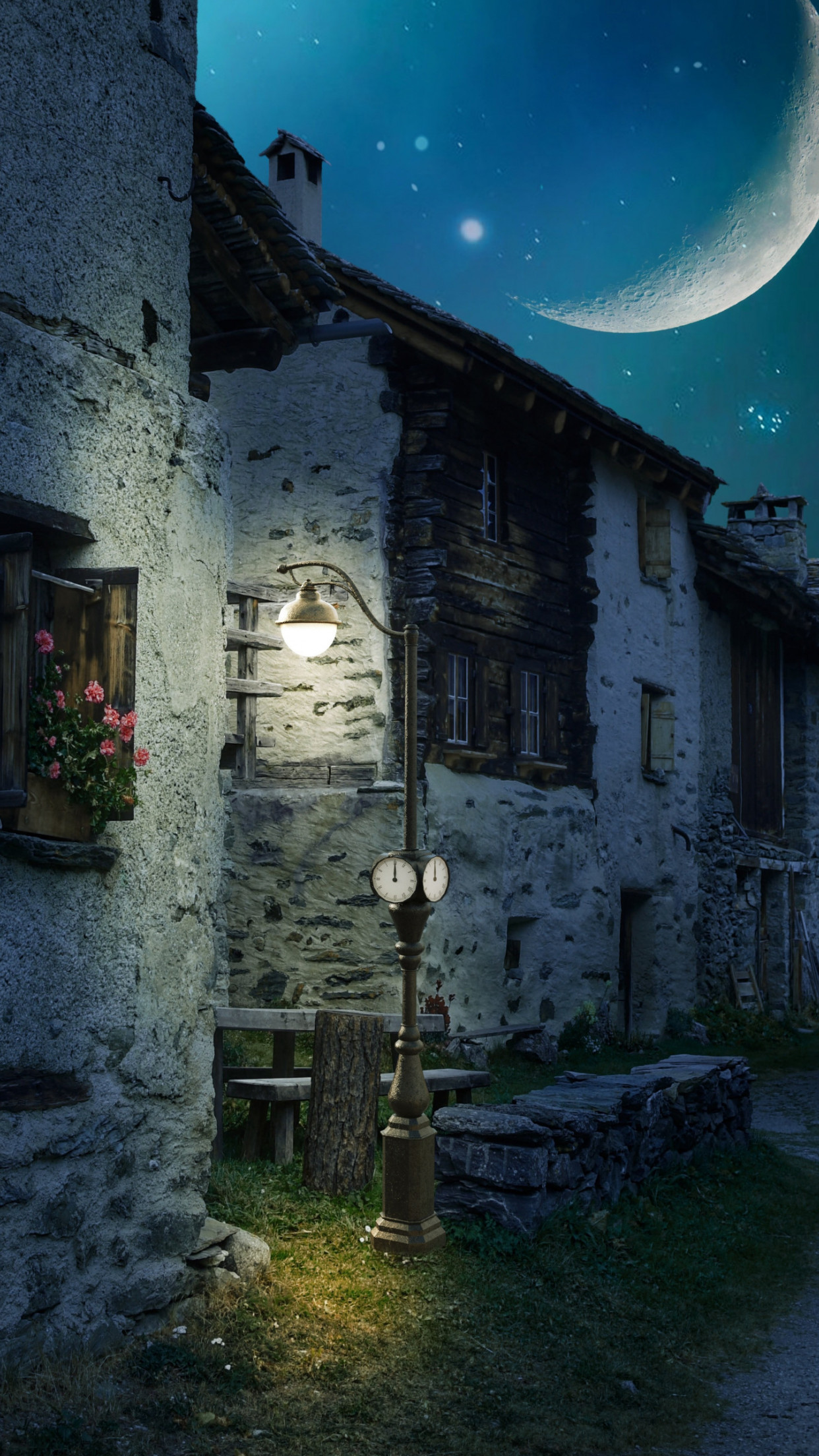 Walk through the medieval city under the moonlight wallpaper 1242x2208