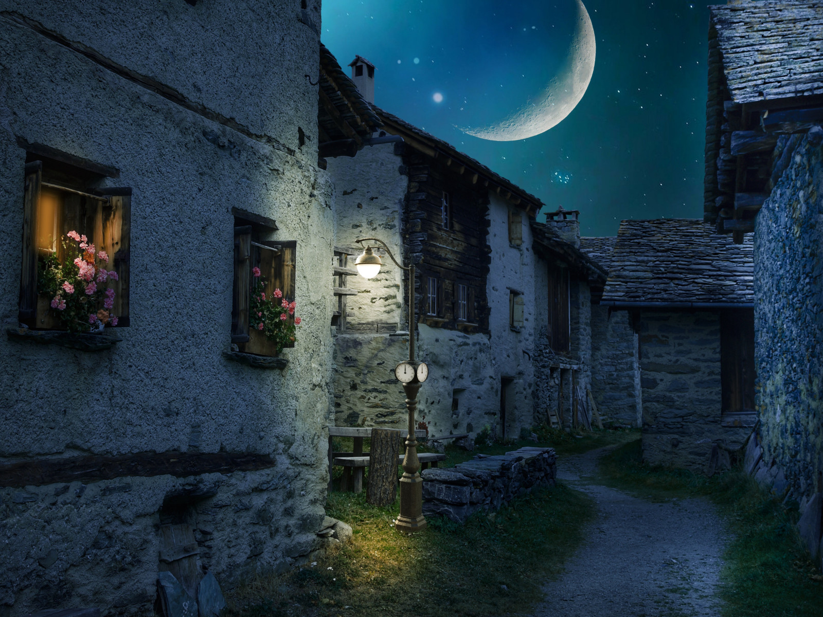Walk through the medieval city under the moonlight wallpaper 1600x1200