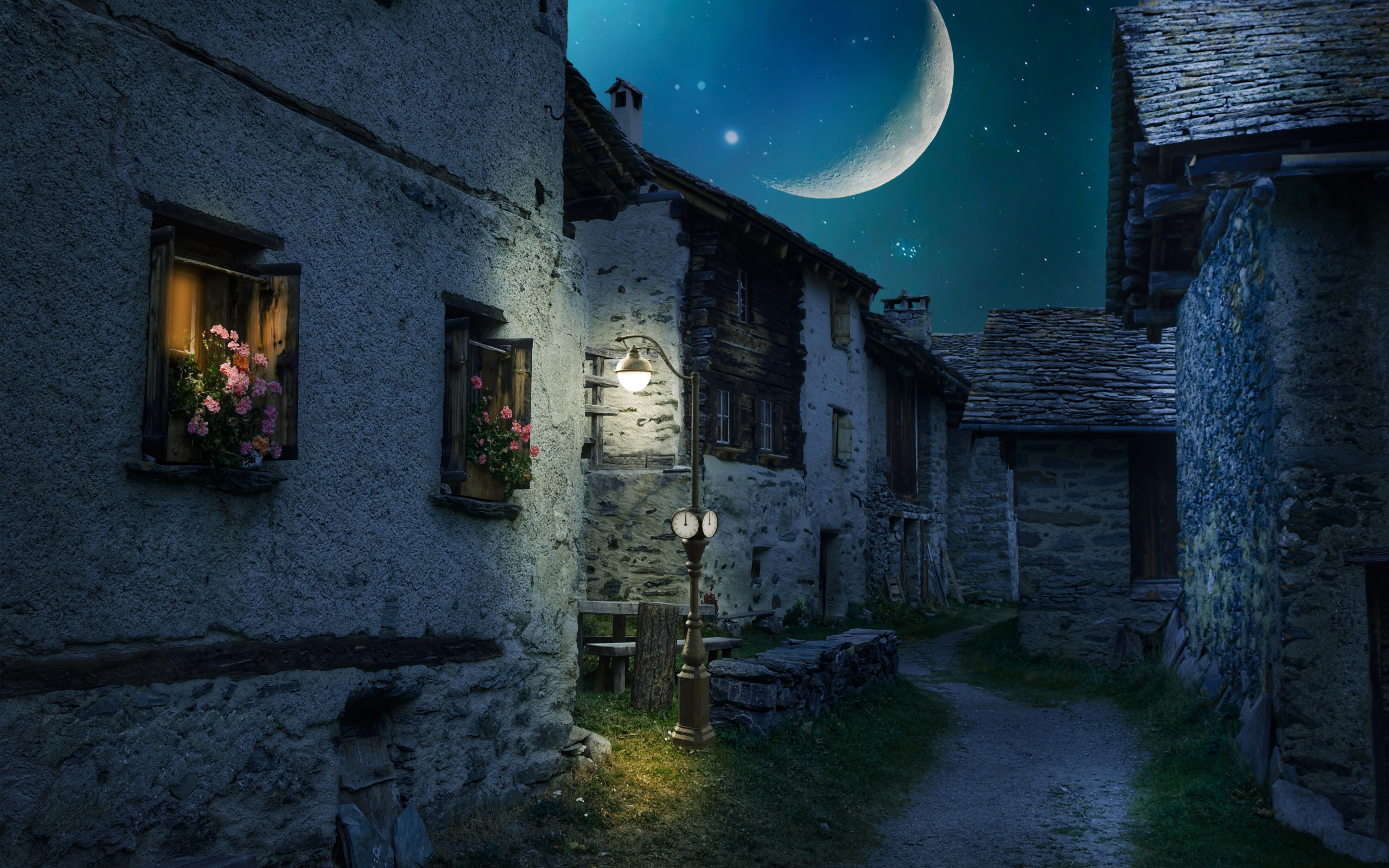 Walk through the medieval city under the moonlight wallpaper 2560x1600
