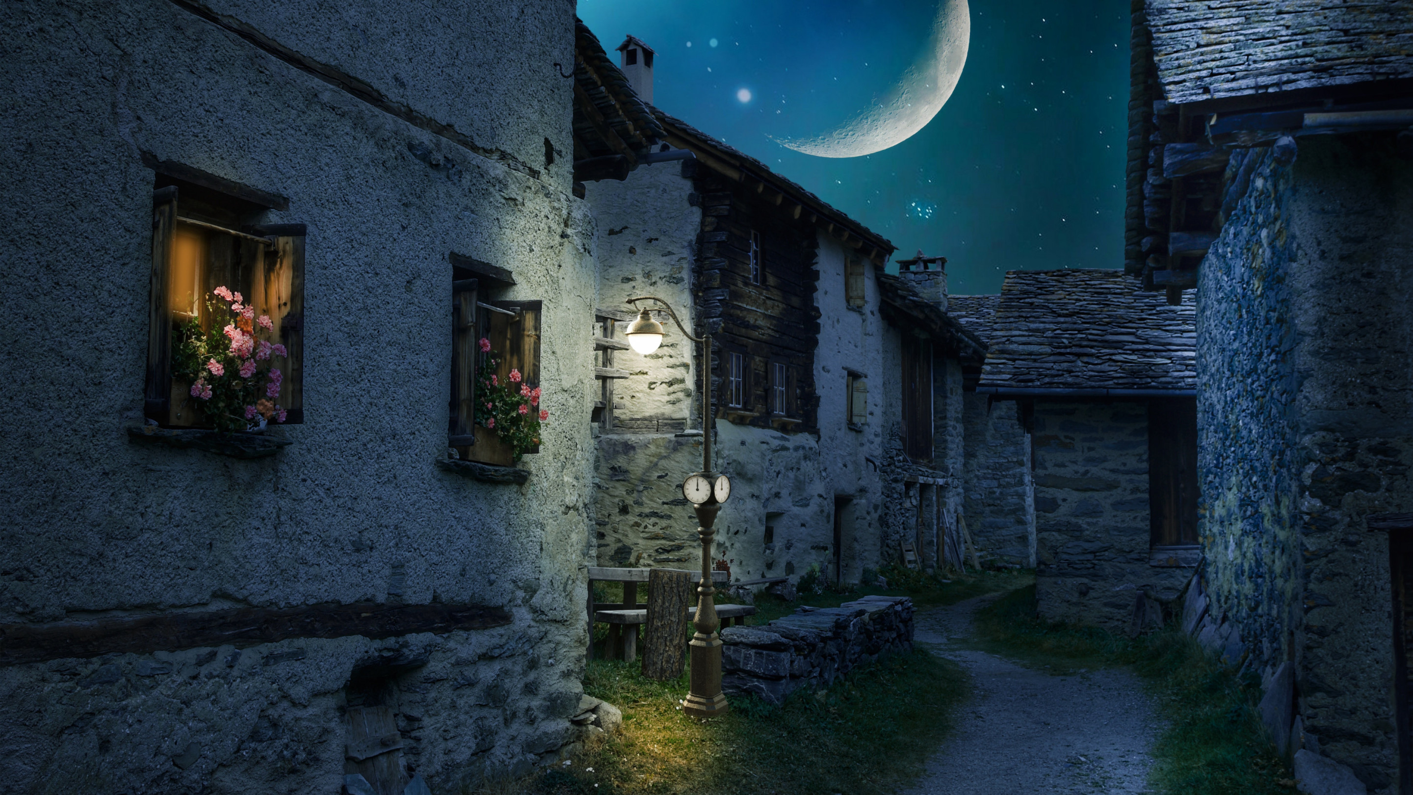 Walk through the medieval city under the moonlight wallpaper 2880x1620