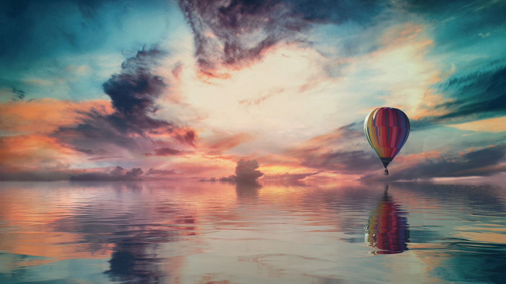 Fantasy travel with the hot air balloon wallpaper 1920x1080