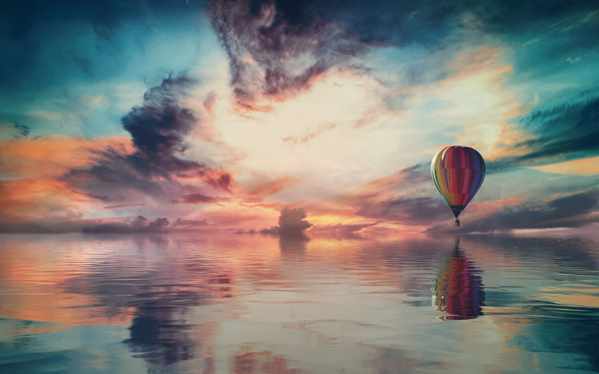 Fantasy travel with the hot air balloon wallpaper 1920x1200