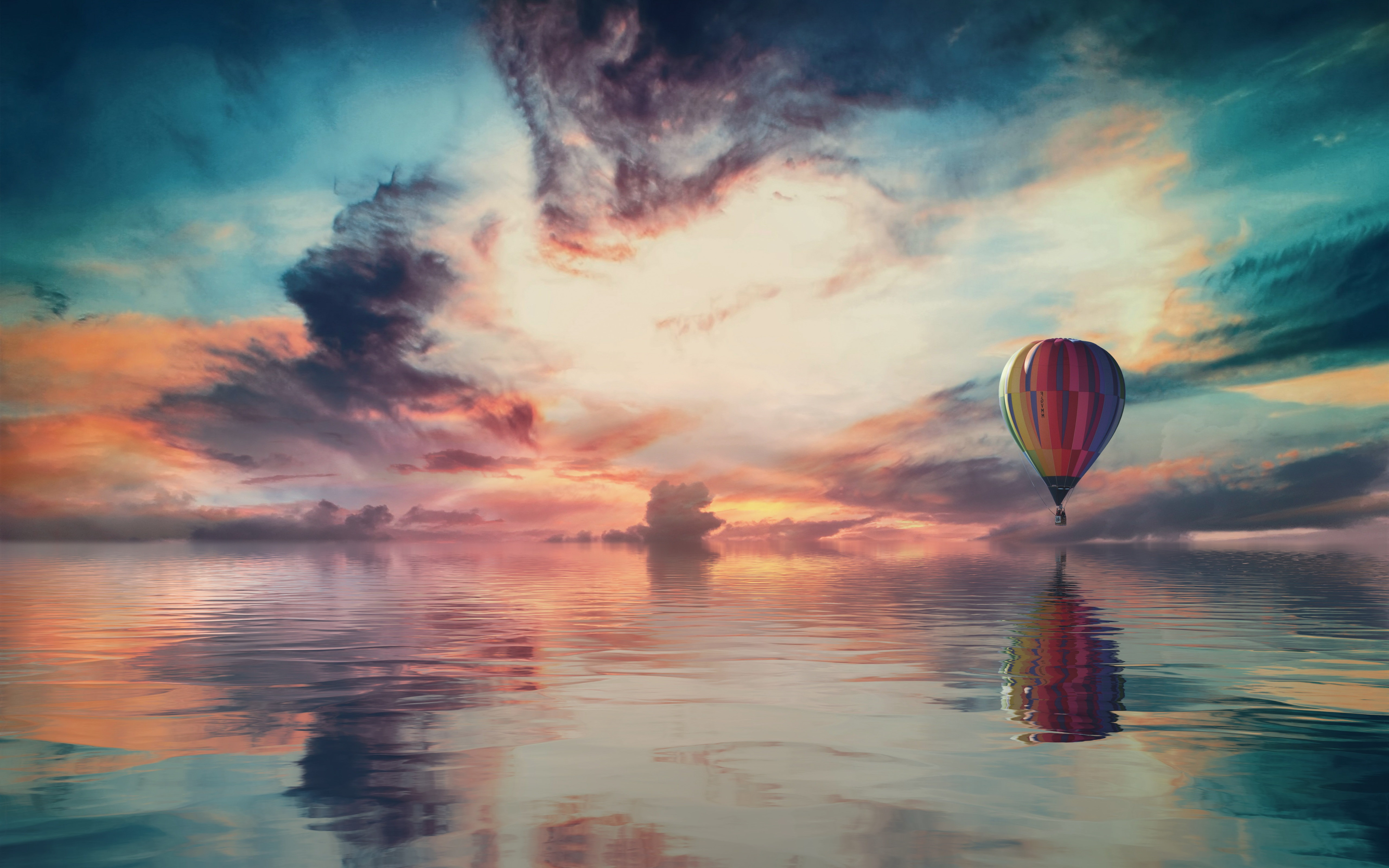 Fantasy travel with the hot air balloon wallpaper 5120x3200