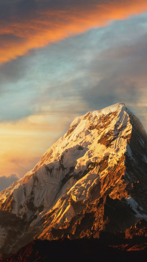 Mountain peak covered with snow wallpaper 480x854