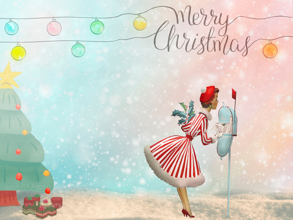 Merry Christmas 2020 Illustration wallpaper 1024x768