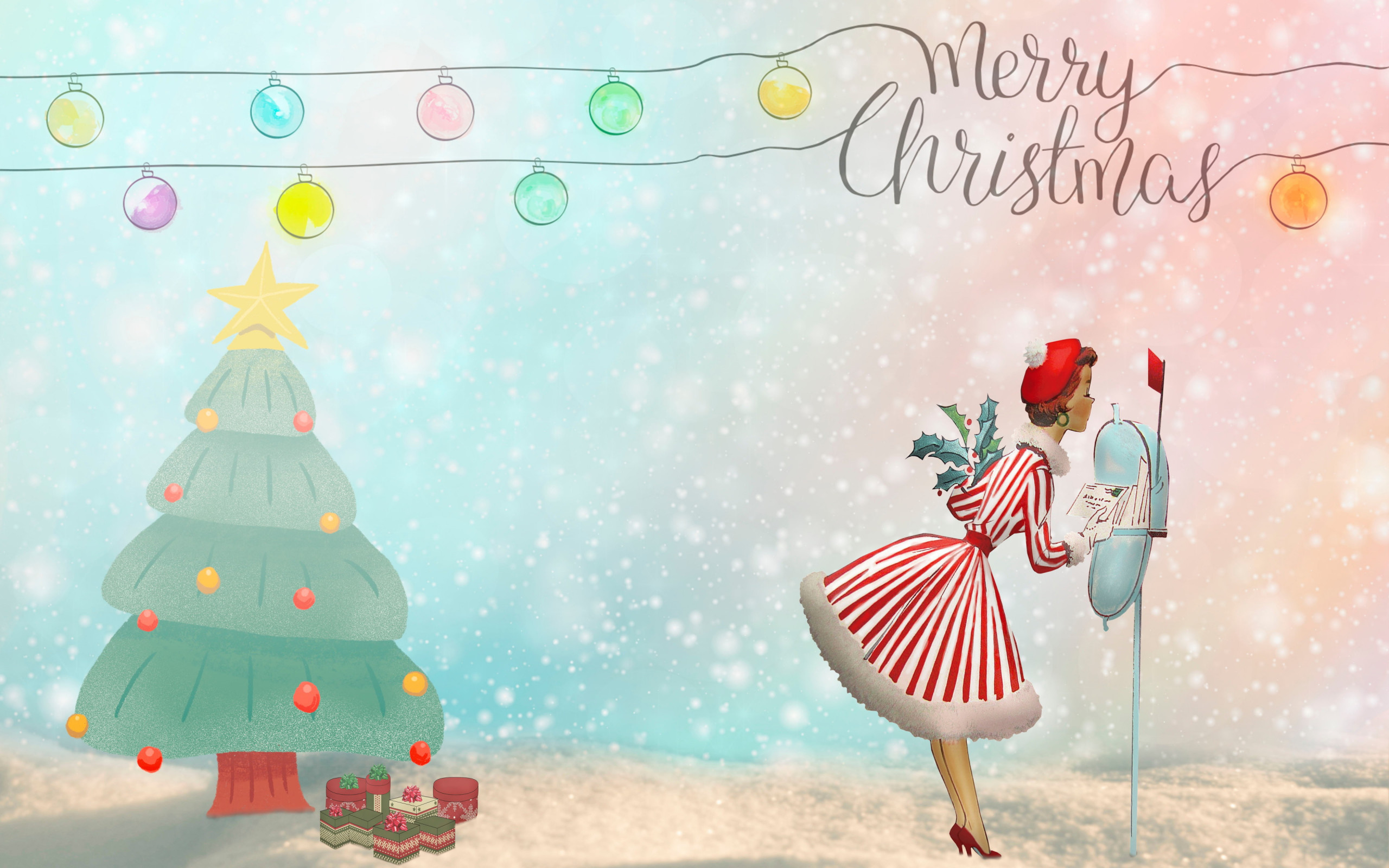 Merry Christmas 2020 Illustration wallpaper 2560x1600